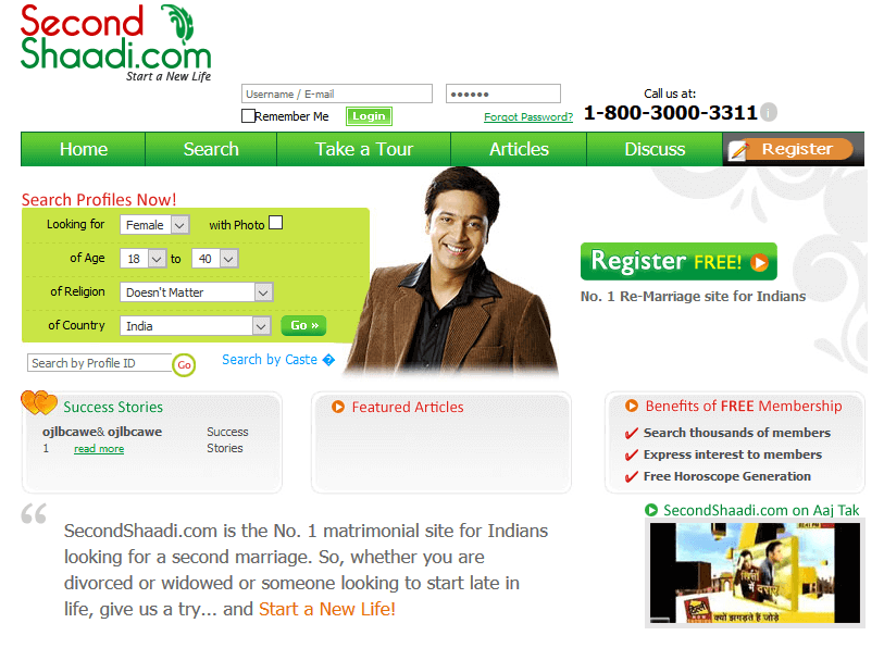 Secondshaadi.com - matrimonial website for second marriages